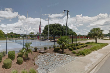 panoramic photo of Coward SC with flags